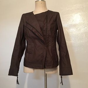 Eileen Fisher Umber brown moto jacket, L
